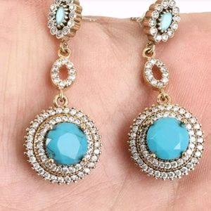 Turquoise & white topaz opera earrings